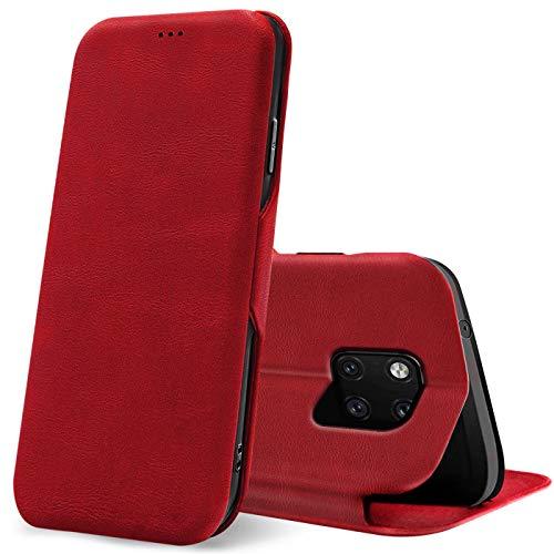 Verco Handyhülle für Huawei Mate 20 Pro, Bookstyle Premium Handy Flip Cover für Mate 20 Pro Hülle [integr. Magnet] Book Hülle PU Leder Tasche, Rot