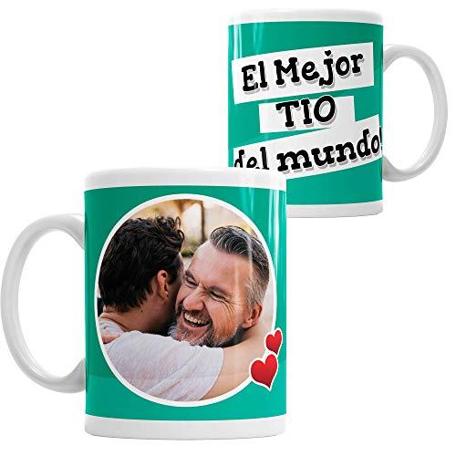 LaMAGLIERIA Taza Personalizada con tu Foto El Mejor Tio del Mundo - Custom mug fotográfico cerámica Idea de Regalo tio, Cod. DES06ES