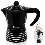 Stovetop Espresso Maker 3 CUP RAINBEAN, Moka Pot 2021, Italian Cuban Greca Coffer Maker Easy to Use & Clean, BLACK Espresso Coffee Percolator, Aluminum & Durable, 6oz Best Kitchen Gift