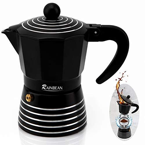 RAINBEAN Stovetop Espresso Maker 3 Cup Moka Pot,Italian Cuban Greca Coffee Maker,Aluminum Durable and Easy to Use & Clean(6oz Black)