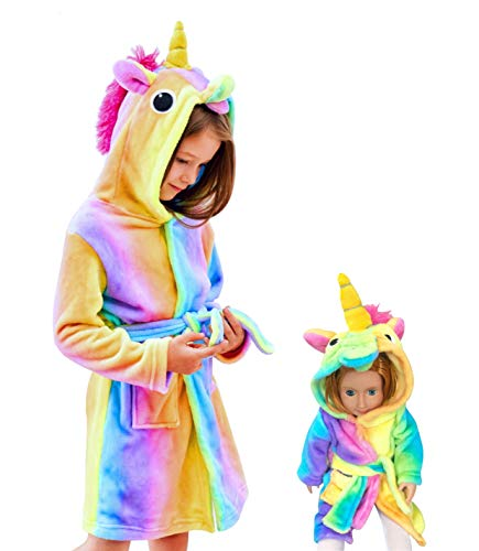 Soft Unicorn Hooded Bathrobe Sleepwear for Matching Doll & Girls (Rainbow, 10-11 Years)