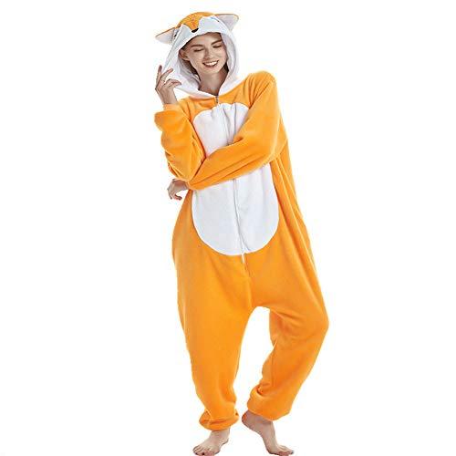 AYJMA Pijama de Animales Kigurumi para Hombres, Onesies de Dibujos Animados para Adultos, Disfraz de Cosplay, Pijamas para Mujeres, Onsie, Halloween, S Fox Kigurumi