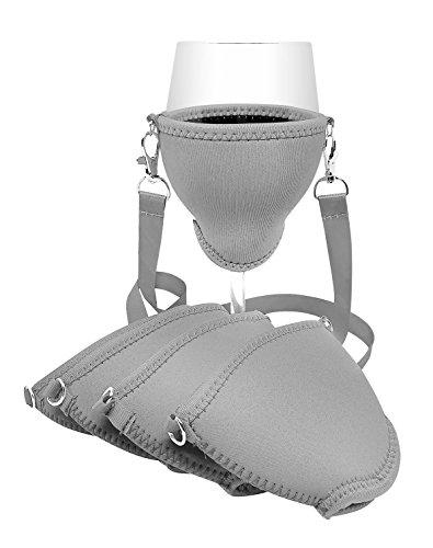 Eff Em Concept WineHolder XL - Weinglas-Halter für den Hals, Weinglashalterung inkl. Halstrageband (Lanyard) (Silber 5er)