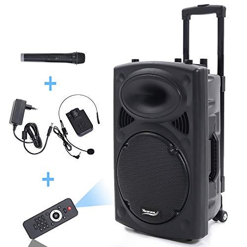 Port12VHF 700W Altoparlante Amplificato Portatile 12'/30cm Impianto Audio Cassa Attiva con 2 Microfoni,Telecomando,Batteria Integrata,Supporto per lettore BT/MP3/USB/SD/AUX/FM/Guitar Inputs.