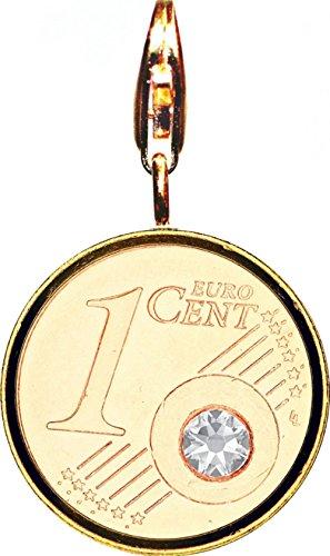 DER BESONDERE GLÜCKSBRINGER - The Coin - VERGOLDET (24 Karat) - mit angeschweisstem Karabiner - APRIL Geburtsstein / Monatsstein - DIAMANT Farbe SWAROVSKI KRISTALL