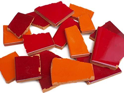 900g Bruchmosaik, Mosaikfliesen aus handgefertigten mexikanischen Fliesen - Rot- und Orangetöne