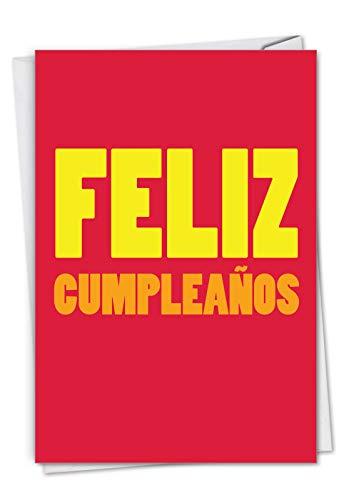NobleWorks C3243BDG-SL Geburtstagskarte mit Umschlag, Motiv Big Feliz Cumpleanos, 11 x 17 cm, Spanische Nachricht, englische Aufschrift