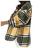 YANFANG Chaqueta para Mujer Abrigo de Manga Larga con Bolsillo Estampado a Cuadros Sueltos de Moda Casual