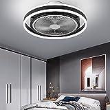 Lámpara de techo con ventilador, LED, moderna, regulable, con mando a distancia, color blanco y negro, luz de ventilador para dormitorio, habitación de los niños, salón, estudio, restaurante (negro)