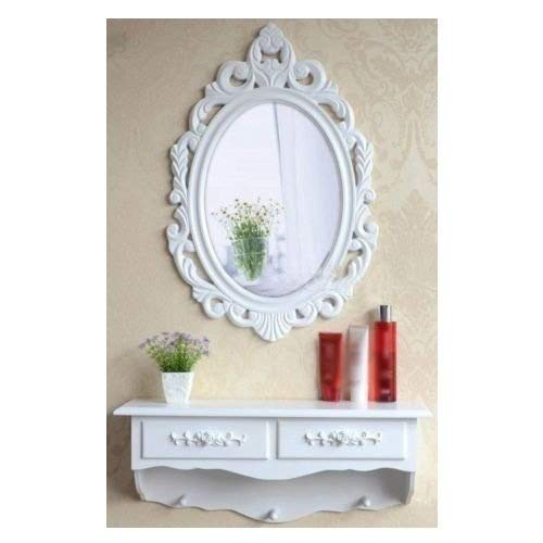 Tocador y espejo de madera vintage estilo shabby chic, cajón de almac