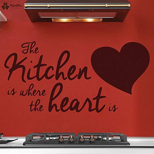 muurstickers open haard, muursticker citaten waar de keuken is waar het hart is vinyl muurstickers modern design stijlvol huis127x63cm