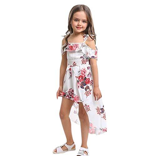 AIni Baby MäDchen Kleidung, Sommer Mode Elegant Kleinkind Schulterfrei Blumendruck RüSchen Hosenrock Outfits Sets BeiläUfiges Strand Festlich Partykleid(120,Weiß)