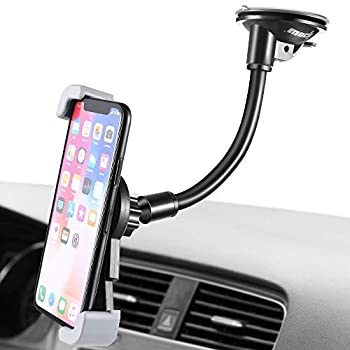 IPOW Car Phone Mount Diagonal Clamp Full-View Windshield/Dashboard Car Phone Holder with Strong Suction Cup& Bendable Goose Arm Compatible with iPhone 12 11 X 8Plus 7Plus 6Plus Galaxy S7 S9 J7V