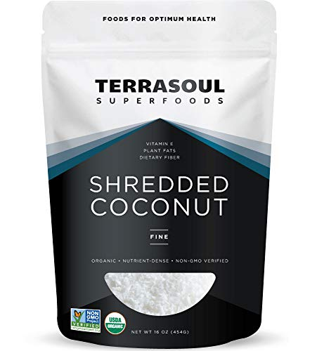 Terrasoul Superfoods Organic Coconut Flakes, 1 Lb - Finely Shredded | Macaroon Cut