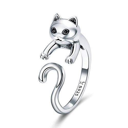 JIARU Anillo de plata de ley 925 para mujer, anillo de moda, anillo simple y lindo gato travieso anillos para niña abierto dedo anillo regalo