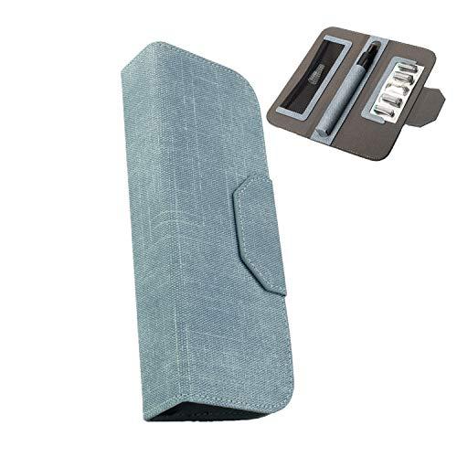 TYTX プルームテックプラス 専用ケース Ploomtech+ 手帳型 大容量 レザー カバー 収納 電子タバコケース (ブルー)