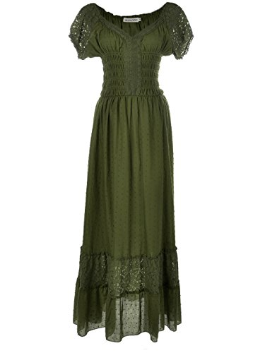 Anna-Kaci Peasant Maiden Boho Inspired Cap Sleeve Lace Trim Maxi Dress, Olive Green, Small