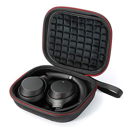 Custodia rigida da viaggio per Sony WH-XB900N, WH-1000XM3 Cuffie wireless con eliminazione del rumore, Borsa per il trasporto - Nera (fodera nera)