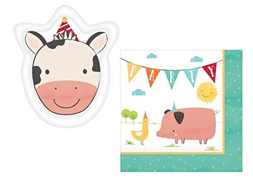 Amscan Barnyard - Platos con forma de vaca para cumpleaños, 17,8 cm y servilletas de almuerzo