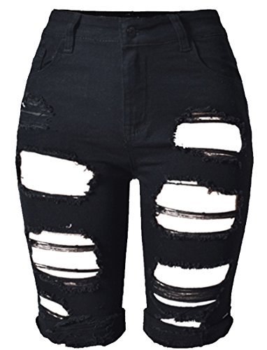 OLRAIN Womens High Waist Ripped Hole Washed Distressed Short Jeans 6 Black