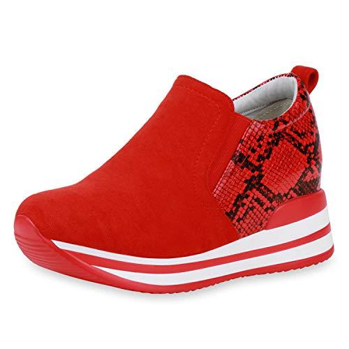 SCARPE VITA Donna Sneakers con Zeppa Alta 193464 Rosso Nero Snake 38