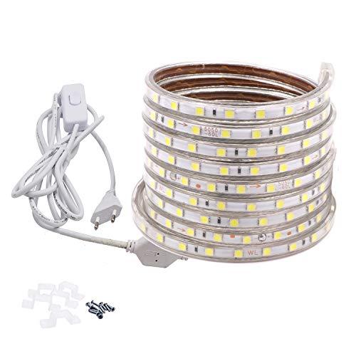 VAWAR 6M Striscia LED con interruttore - bianco freddo, 5050 60 LEDs/m, retroilluminazione luminosa, 220V 230V, IP65 impermeabile, DIY decorazione per casa, bar, Natale