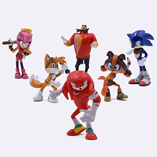 YUNXING Sónico El Erizo 6 Unids / Set 5-7 Cm Sonic Shadow Tails Amy Rose Dr Eggman PVC Juguetes Figuras De Acción Muñeca Juguetes para Niños Niñas