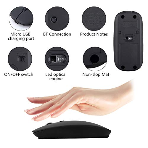 Mouse Bluetooth per laptop, Mouse Wireless per Tablet/ Mac / iPhone (iOS13.1.2 e versioni successive) Notebook, Mouse Ottico Senza Fili Mouse Sottili Silenziosi Ricaricabili USB per Windows / Linux