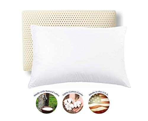RejuveNite American Talalay Latex Medium Support Bed Pillow for Sleeping with Luxurious 100% Cotton Sateen, 400TC Cover, Queen High Profile – Made...