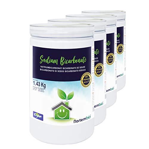 Nortembio Bicarbonate de Soude 4x1,43 Kg, Intrant de la Production Biologique, sans Aluminium, Qualité Supérieure, 100% Naturel. E-Book Inclus.