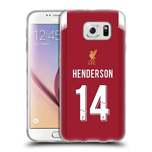 Ufficiale Liverpool Football Club Jordan Henderson 2019/20 Giocatori Home Kit Gruppo 1 Cover in Morbido Gel Compatibile con Samsung Galaxy S6