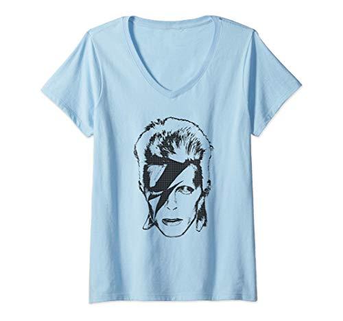 Mujer David Bowie - Lightning Camiseta Cuello V