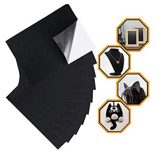 SKYVII Hojas adhesivas de tela de fieltro negro con pegamento adhesivo para arte y manualidades