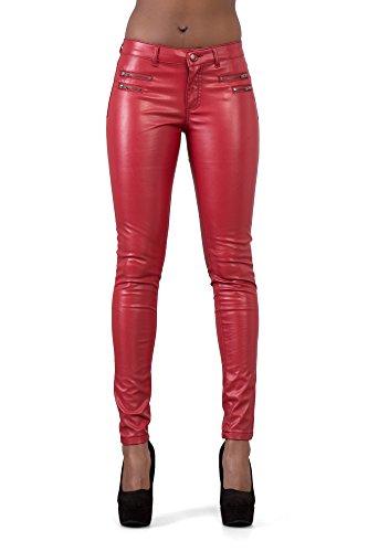 Lusty Chic Hochwertige Damenhosen, Glatte Damen Hose, Frauen Kunstlederhose, PU Lederhose Jean (36, Rot)