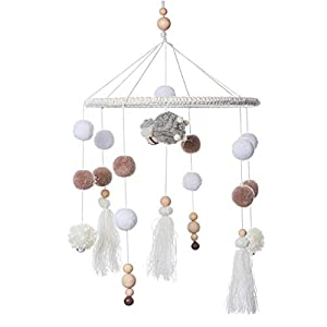 crib bedding and baby bedding baby crib mobile - mmh handmade wooden mobile for crib with wool ball felt ball tassel sheep toy baby mobile bassinet mobile hanging toy mobile for baby nursery room decoration shower gift (sheep)