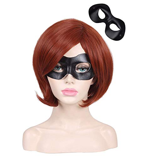 ColorGround Short Reddish Brown Prestyled Cosplay Wig and Eye Mask for Women