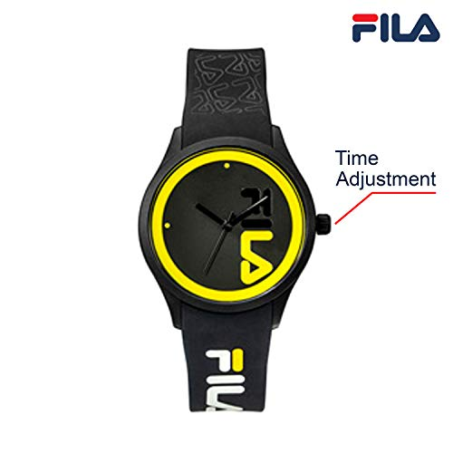 OROLOGIO FILA Watches for Women - Womens Watches - Analog Watch - Cool Watches for Men - Mens Wrist Watch - Running Watch - Unisex Watch - Fila Watches for Men - Black & Yellow Fila Watch