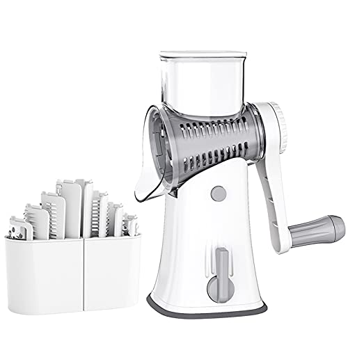 Dec-deal Rotary Cheese Grater, Cheese Grater Multifunctional Rotary Drum Vegetable Slicer for Kitchen Tool DIY Set Manual Manuomotive Mini Size Portable Washable for Daily Housework Meal Cooking