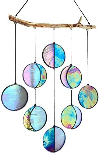 ERS Stained Glass Moon Phase Wall Decor,Moon Phase Wall Hanging Wooden Bedroom Wall Decor, Moon Decor Wall Decorations for Living Room Bedroom Office-2pcs