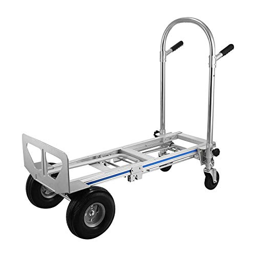 Hihone 3 in 1 Aluminum Hand Truck, 3 in 1 Hand Trucks Heavy Duty 1000 lb, with 10'Solid Rubber Wheels, Assisted Hand Truck Flatform Cart