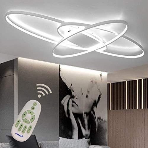 LED Plafoniera Soggiorno Dimmerabile Soffitto Lamp Moderno Ellisse Annulus Designer Lampada a Sospensione con telecomando Cucina Métal Acrilica Sala da pranzo Ufficio Lampadari L95*W65cm