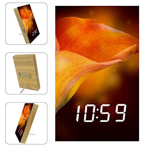 TIZORAX - Reloj despertador con luz LED para oficina, cocina, salón, dormitorio, escritorio, con carga USB