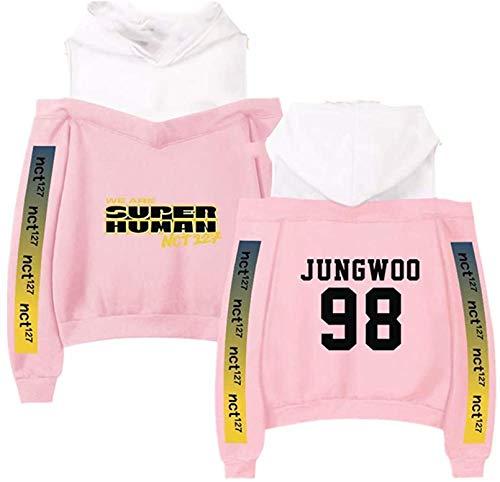 NCT 127 Mercancía Off Sudadera con Capucha KPOPNEW Ropa Pullover Sudadera, el Mejor Recuerdo (Color : Pink Jungwoo, Size : XXL)