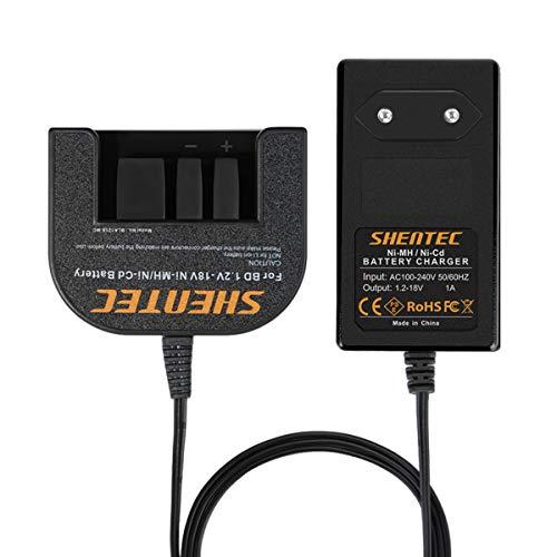 Shentec 1.2V-18V Cargador de batería Compatible con Black and Decker 7.2V 9.6V 12V 14.4V 18V Ni-MH/Ni-Cd Slide Style Batteries