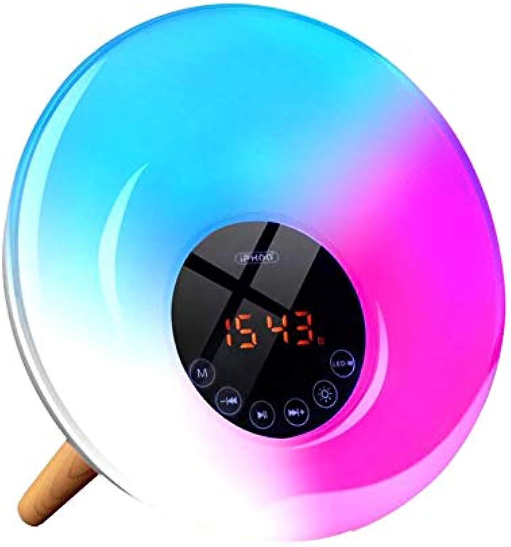 Wake-Up Light Lichtwecker Sonnenaufgangfunktion FM Radio Digitaluhr Licht natürlichen Sounds Snooze Funktion 7 Farbige,kabelloser Blautooth Lautsprecher & Sprachassistent