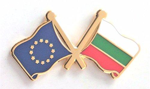 Bulgarien Flagge und Europäische Union Flagge Fre&schaft Höflichkeit Pin Badge (Echt Vergoldet)