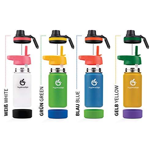 hydro2go ® Kinder Trinkflasche aus Edelstahl - 350ml | Thermo Edelstahlflasche BPA-frei für Kinder + 2 Trinkverschlüsse | 100% Auslaufsichere Kinderflasche | Strohhalm- und Sport-Verschluss