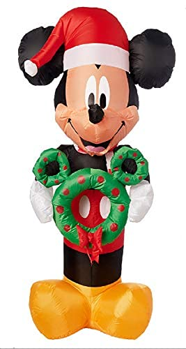 Gemmy 5FT Tall Inflatable Mickey Mouse with Wreath Indoor/Outdoor Holiday Decoration