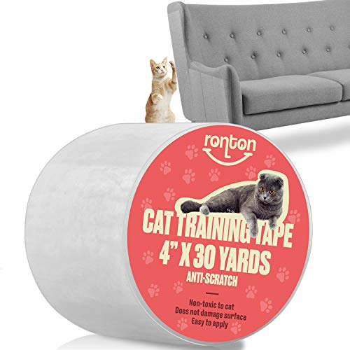 Ronton Cat Scratch Deterrent Tape - Anti Scratch Tape for Cats 4x30 | 100% Transparent Clear Double Sided Cat Training Tape | Pet & Kid Safe | Furniture, Couch, Door Protector