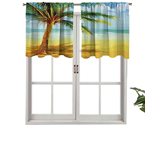 Hiiiman Indoor Privacy Window Valance Curtain Panel Coconut Palm Tree Branches on The Beach Exotic Nature Print, Set of 1, 50'x18' for Sliding Patio Door/Dining